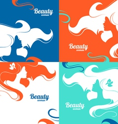 Set of beautiful fashion woman silhouettes vector image