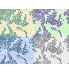 Set of city maps vector image