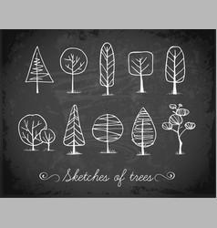 Set of doodle sketch trees on blackboard vector
