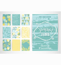 set of summer background templates design vector image