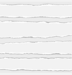 several torn white paper stripes with shadow vector image