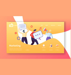 social marketing landing page template website vector image