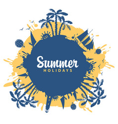 summer travel banner with palm trees and sailboats vector image