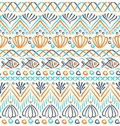 Tribal sea ethnic seamless pattern vector image