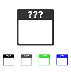 Unknown calendar page flat icon vector