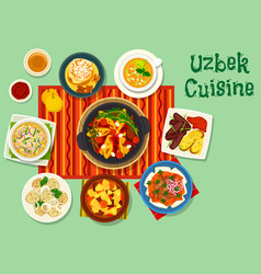 Uzbek cuisine icon for asian food design vector