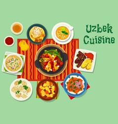 uzbek cuisine icon for asian food design vector image
