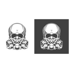 vintage monochrome skull with respirator isolated vector image