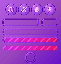 violet game ui elements - buttons and bars for vector image