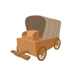 Western covered wagon cartoon icon vector