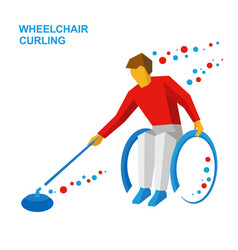 Wheelchair curling curler with disabilities vector