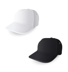 white and black baseball caps vector image