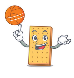 With basketball graham cookies character cartoon vector