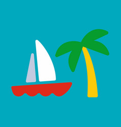 Yacht and palm card vector