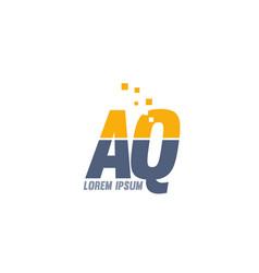 Yellow blue aq a q alphabet letter logo company vector