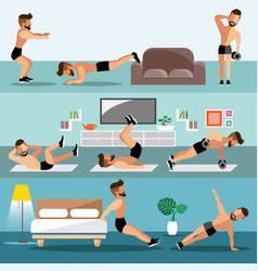 Young men exercise at home vector