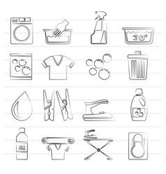 black washing machine and laundry icons vector image