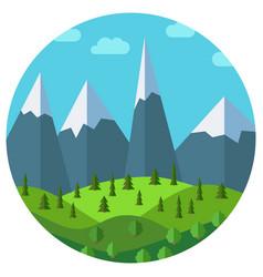 cartoon mountain landscape in circle vector image