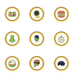 corpse icons set cartoon style vector image vector image