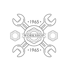 Crossed Wrenches Premium Quality Wood Workshop vector image
