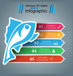 fish color infographic with paper arrows vector image