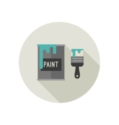 Paint brush and paint bucket vector image vector image