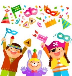 Purim elements and kids vector image
