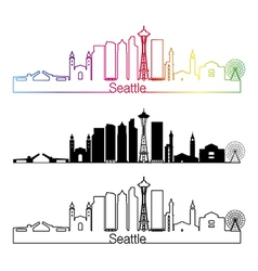 Seattle V2 skyline linear style with rainbow vector image