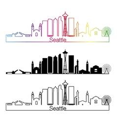 Seattle V2 skyline linear style with rainbow vector image