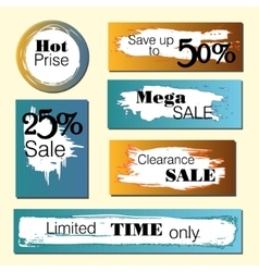 Set of sale discount stickers and banners Hot vector image