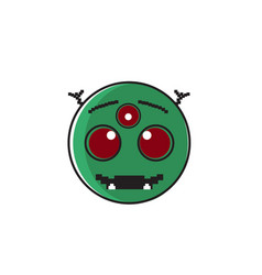 smiling alien cartoon face with three eyes people vector image vector image