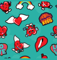 valentines day love patch icon seamless pattern vector image