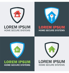 Home Security with Shield Logo Design Concepts vector image vector image