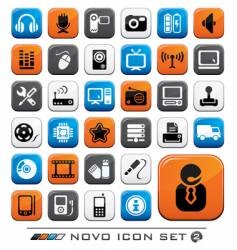 video audio and computer icons vector image vector image