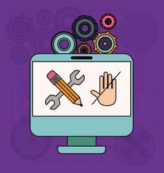 background with desktop computer and tools for vector image