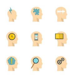 head silhouette with gear icons set flat style vector image