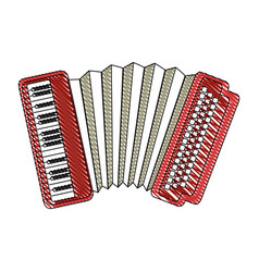Isolated accordion music instrument vector