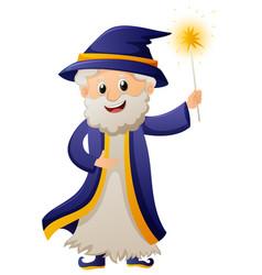 wizard in blue robe vector image