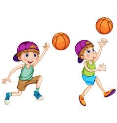 Boys playing basketball on white vector image vector image