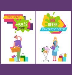 exclusive -55 off and big offer vector image vector image