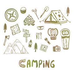 hand drawn camping elements summer vacation icons vector image vector image