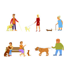 people with dogs set vector image vector image