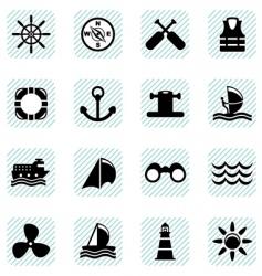 sailing icons set vector image vector image