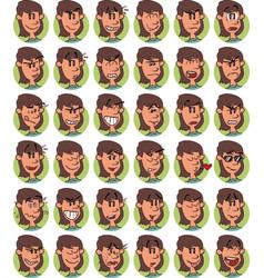 set of brown young girl emojis vector image