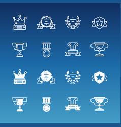 trophy prizes awards line and outline icons vector image