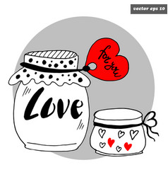 valentine jars vector image vector image