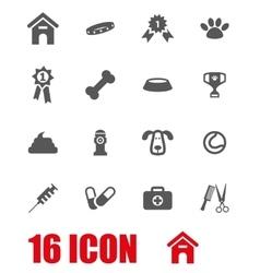 white dog icon set vector image vector image