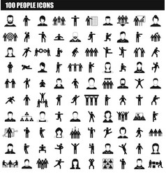 100 people icon set simple style vector