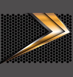 Abstract gold arrow speed on gray hexagon mesh vector