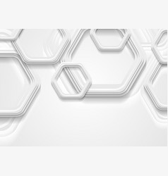 abstract grey tech background with paper hexagons vector image